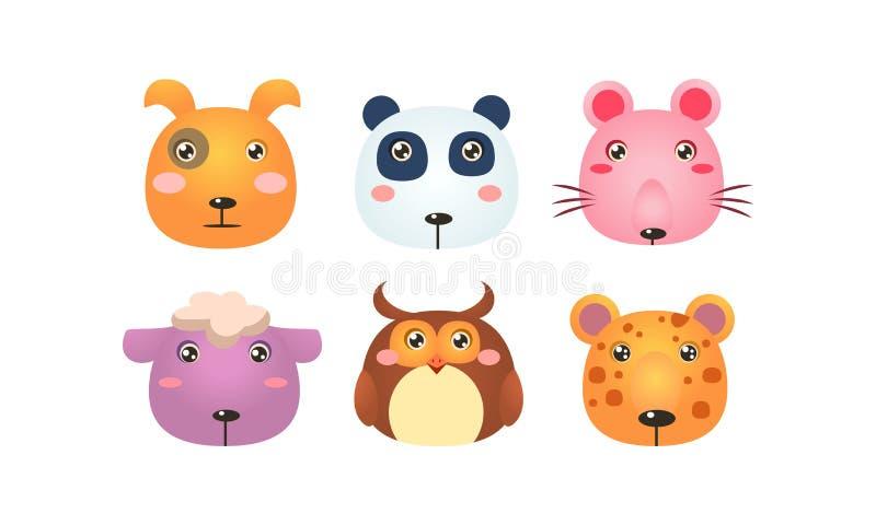 Netter Tierkopfsatz, lustige Gesichter des Hundes, Pandabär, Maus, Schaf, Eule, Tigervektor Illustration auf einem Weiß stock abbildung