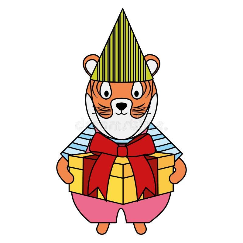 Netter Tiger mit Geschenkbox in der Parteifeier vektor abbildung