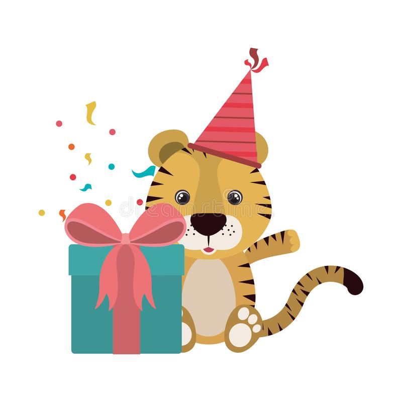 Netter Tiger mit Geschenkbox stock abbildung