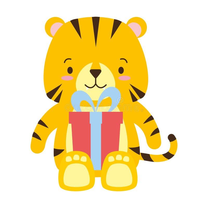 Netter Tiger mit Geschenkbox vektor abbildung