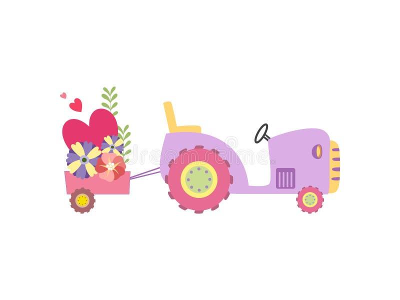 Netter Traktor mit dem Wagen voll von den Blumen, bunte landwirtschaftliche Bauernhof-Transport-Vektor-Illustration vektor abbildung