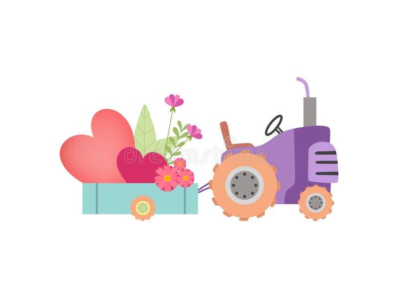 Netter Traktor mit dem Wagen voll von den Herzen und von den Frühlings-oder Sommer-Blumen, bunter landwirtschaftlicher Bauernhof- stock abbildung