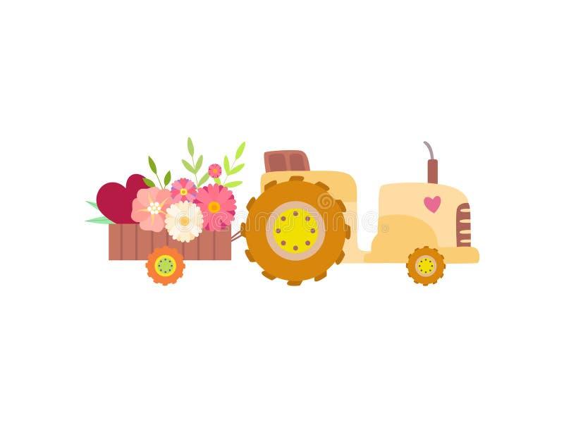 Netter Traktor mit dem Wagen voll von der bunten Frühlings-oder Sommer-Blumen-Vektor-Illustration stock abbildung