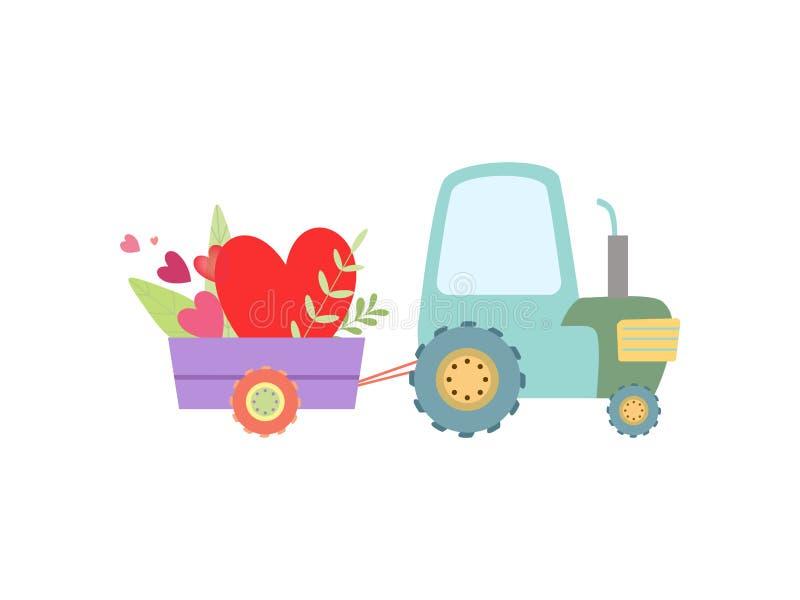 Netter Traktor mit Herzen und Blumen, landwirtschaftlicher Bauernhof-Transport mit Wagen-Vektor-Illustration stock abbildung