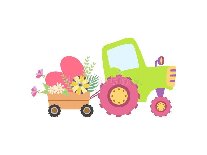 Netter Traktor mit Herzen und Frühlings-oder Sommer-Blumen, bunter landwirtschaftlicher Bauernhof-Transport mit Wagen-Vektor lizenzfreie abbildung