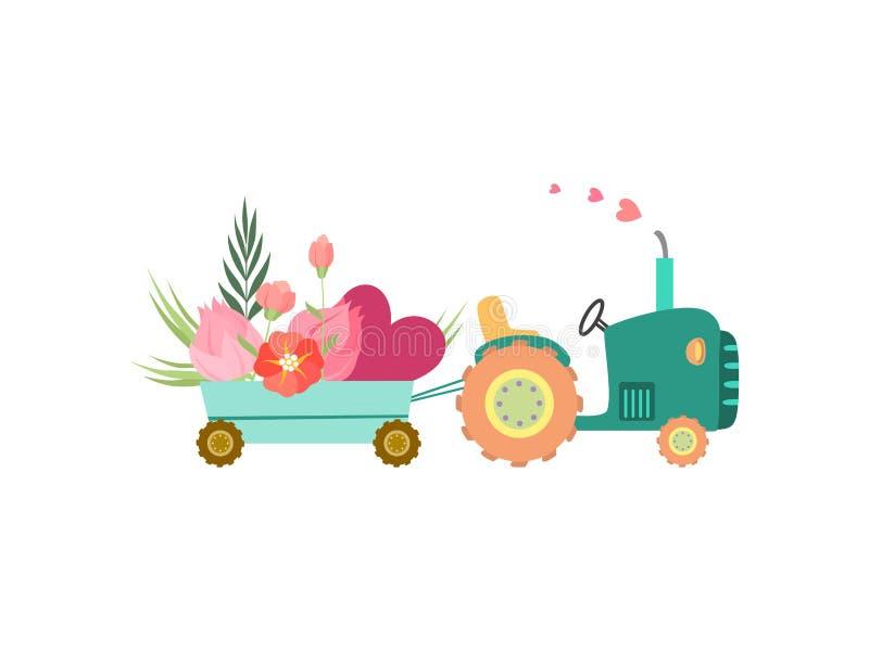 Netter Traktor mit Wagen mit Blumen und Herz-Vektor-Illustration stock abbildung