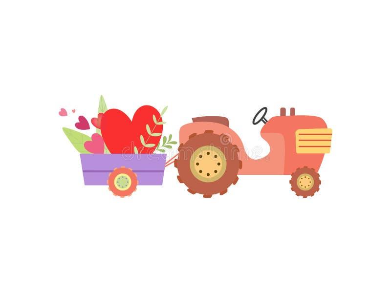 Netter Traktor mit Wagen mit Herzen und Blumen-Vektor-Illustration vektor abbildung