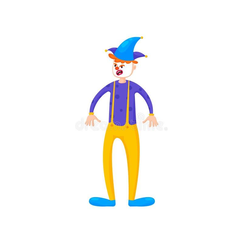 Netter trauriger Clown mit blauem Hut und gelben Hosen vektor abbildung