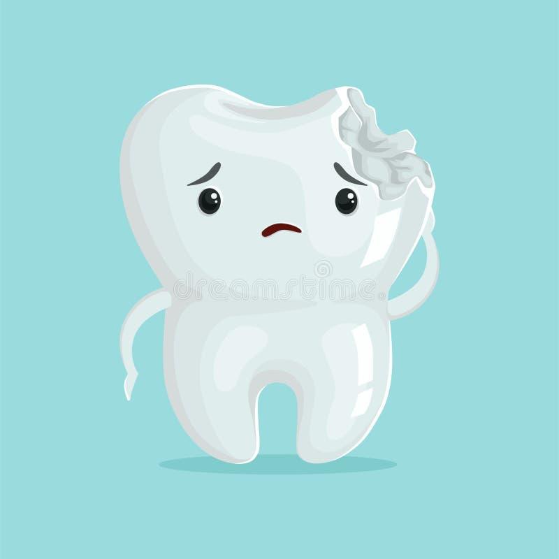 Netter trauriger Lochkarikatur-Zahncharakter, die Zahnheilkunde der Kinder, Zahnpflegekonzeptvektor Illustration lizenzfreie abbildung