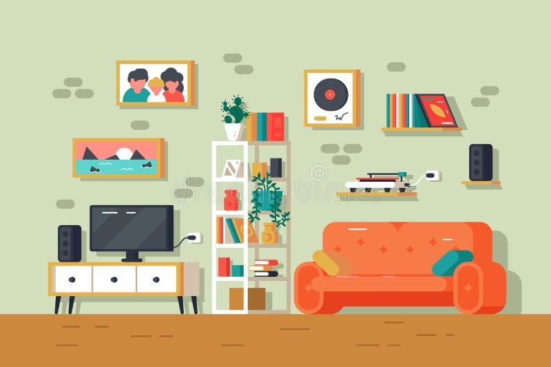 Netter und bunter Wohnzimmerinnenraum lizenzfreie abbildung