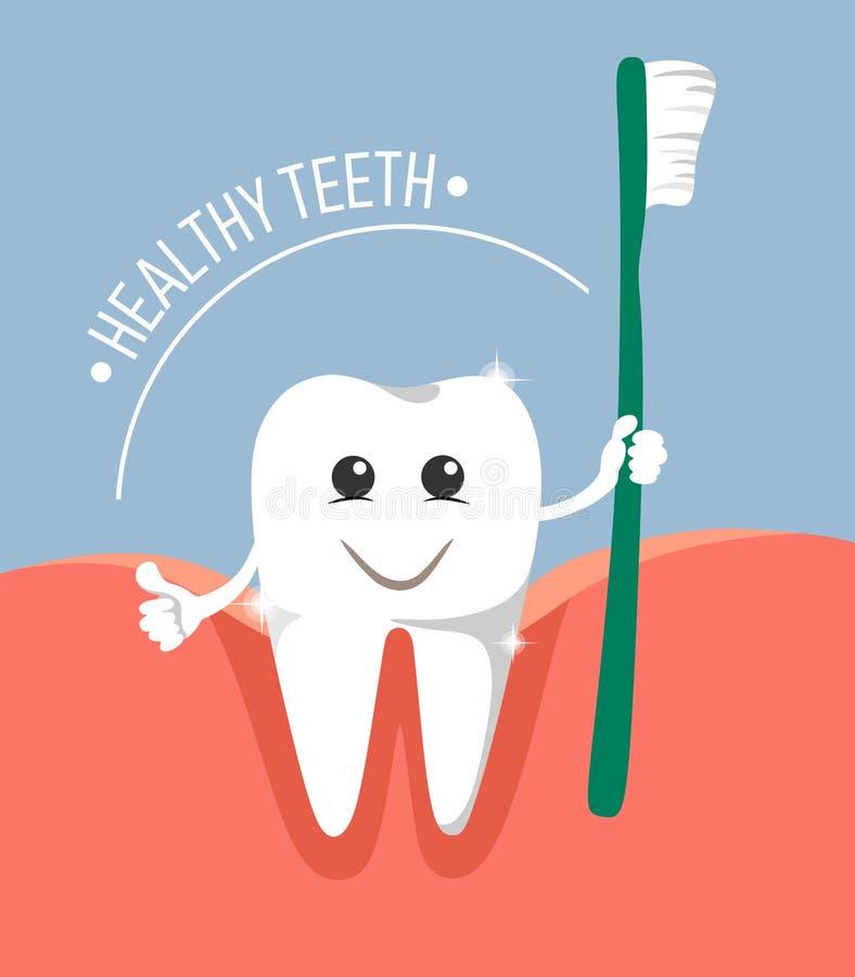 Netter und Karikaturzahn im Gummi mit einer Bürste in seiner Hand Text-gesunde Zähne vektor abbildung