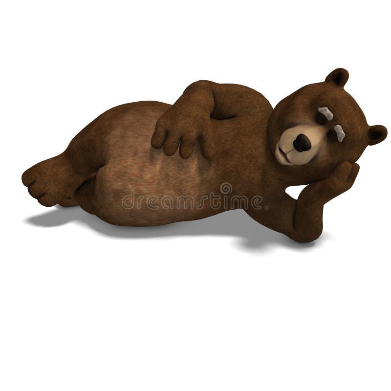Netter und lustiger Toon-Bär. Wiedergabe 3D mit stock abbildung