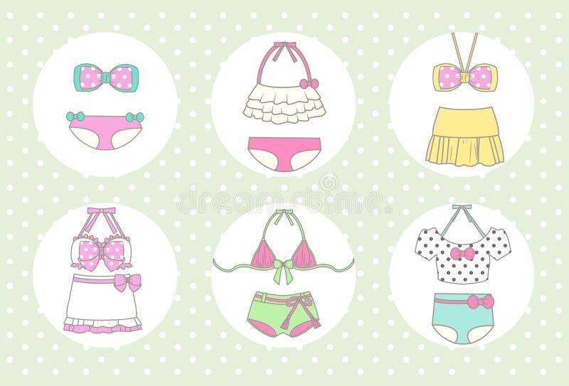 Netter und Weinlese-Bikini lizenzfreies stockbild