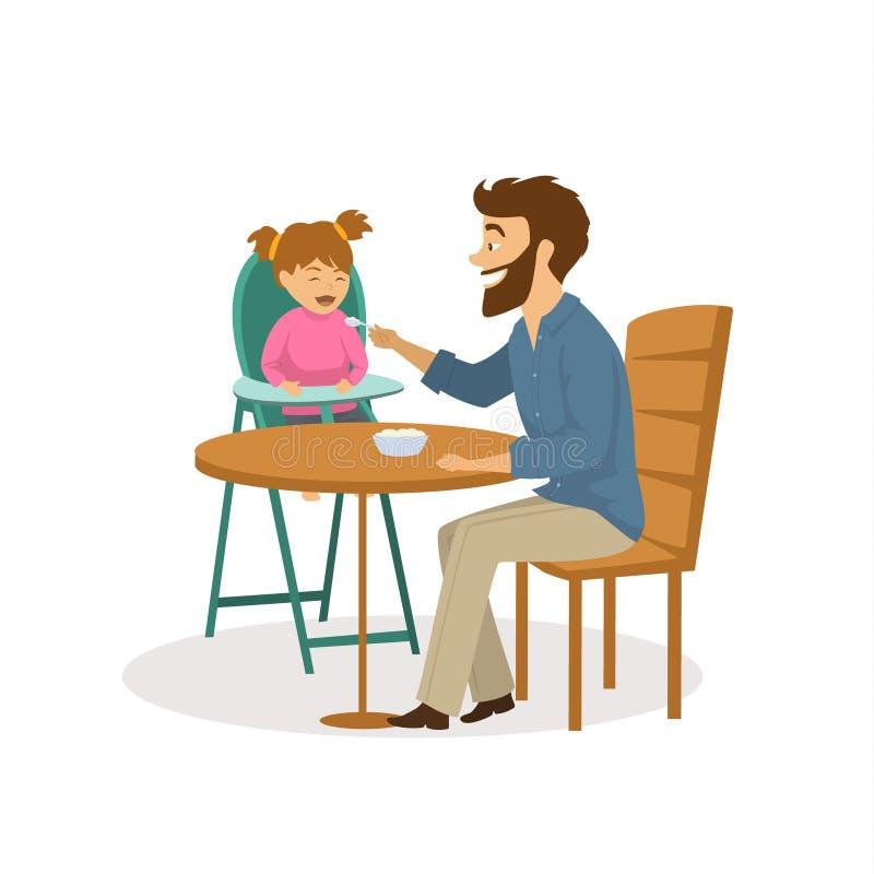 Netter Vater, der seine Tochter einzieht lizenzfreie abbildung
