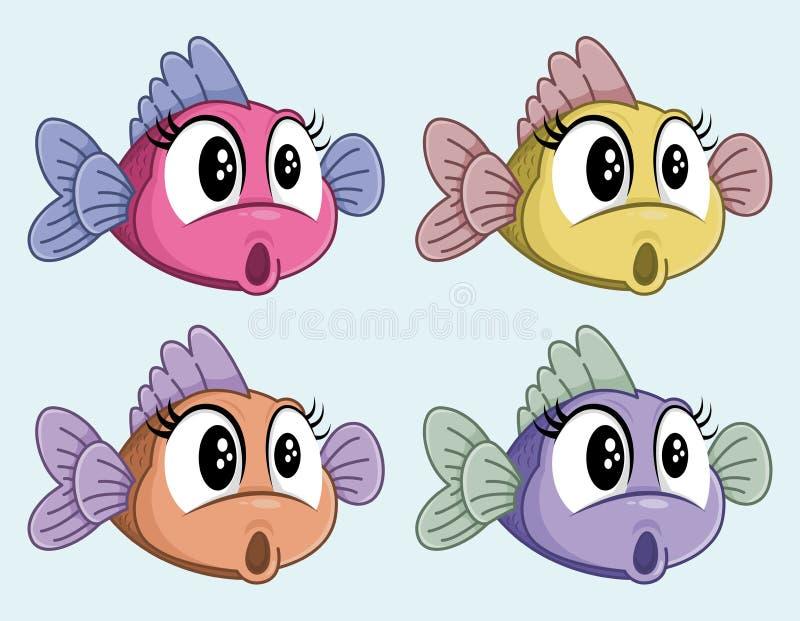 Netter Vektor ?berrascht, weibliche Zeichentrickfilm-Figur zu fischen Lustige entsetzte kleine Fische Vier Farben vektor abbildung