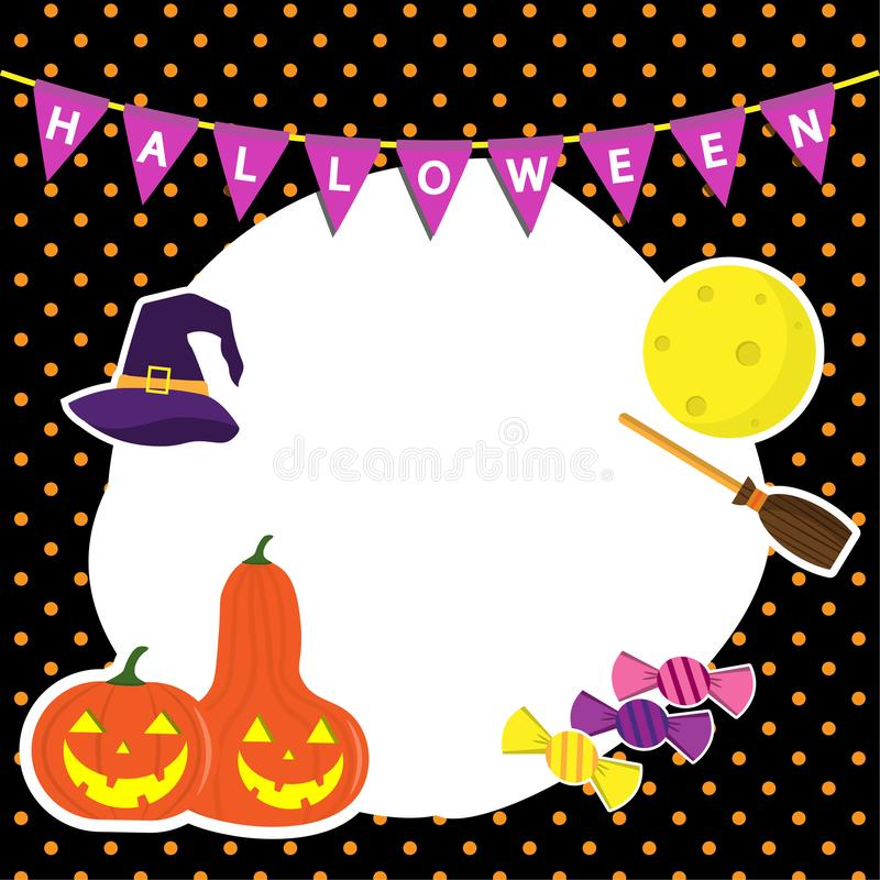 Netter Vektor eingestellt mit Feld-Halloween-Illustrationen haben Sie Kürbis, Hexenhut, Mond, Süßigkeit, Ikonen und Gestaltungsel lizenzfreie abbildung