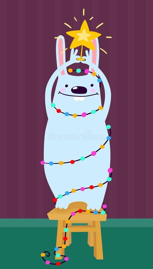 Netter verzierter Kaninchenholdingstern auf der Schemelwinter-Themakarte, Weihnachtshäschenhintergrund lizenzfreie abbildung