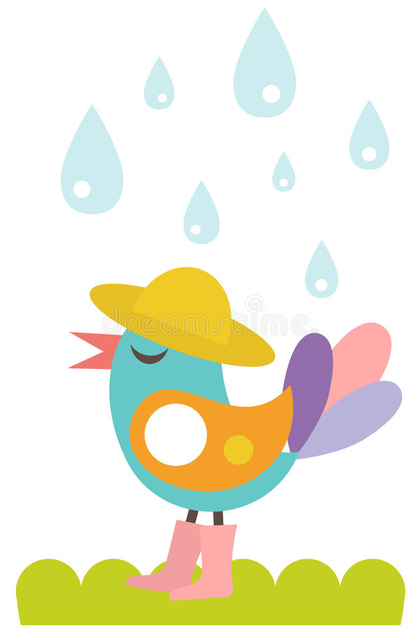 Netter Vogel im Regen lizenzfreie abbildung