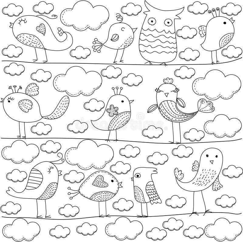 Netter Vogel und Wolke lizenzfreie abbildung