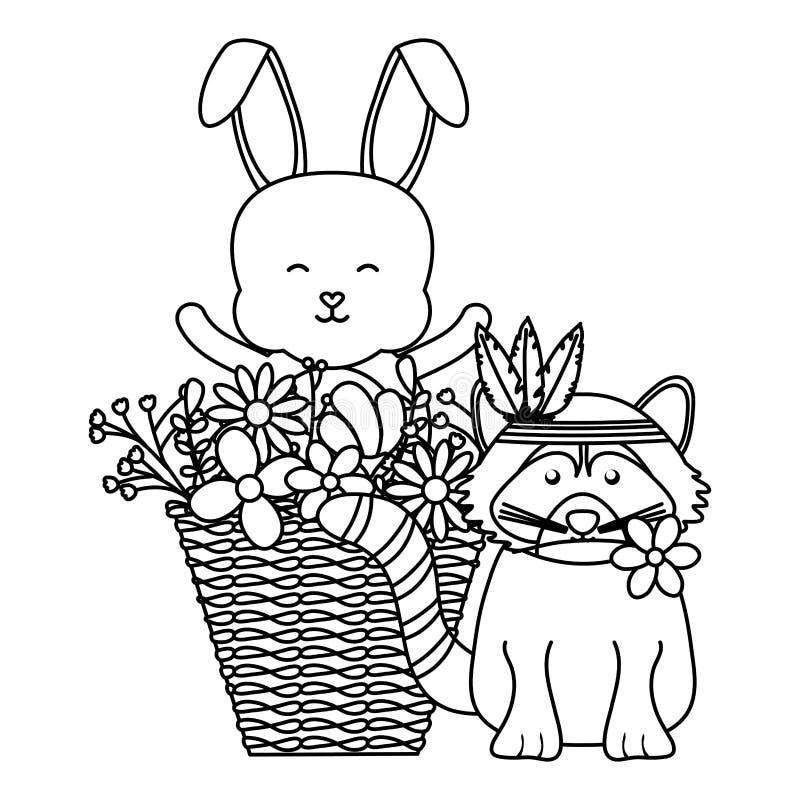 Netter Waschbär und Kaninchen in der böhmischen Art des Korbes stock abbildung