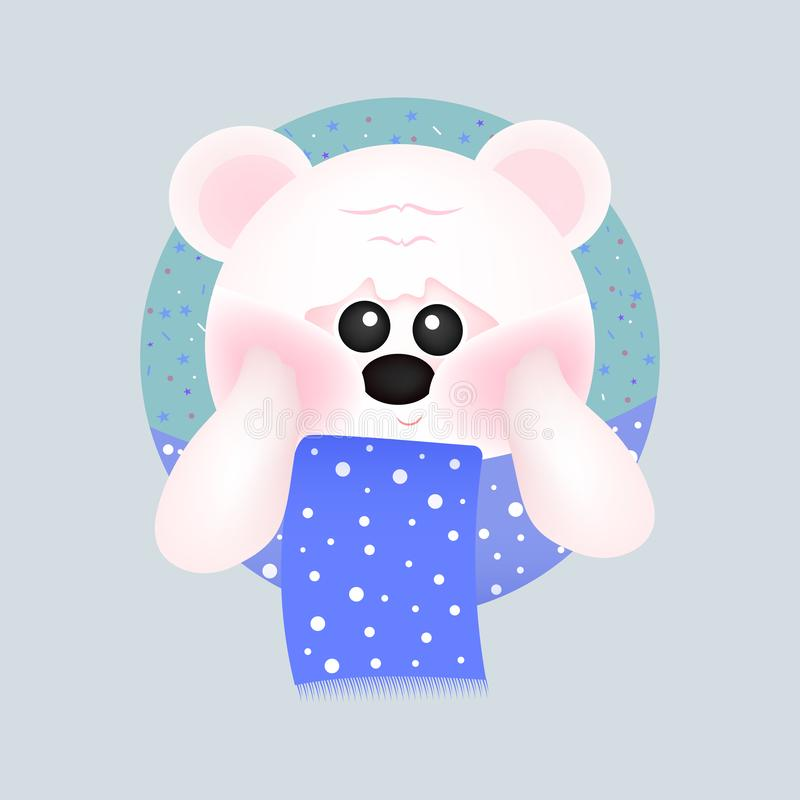 Netter weißer Bär mit roten Backen mit blauem Schal, auf blauen Hintergründen Für Babykarte und -einladung Auch im corel abgehobe stock abbildung