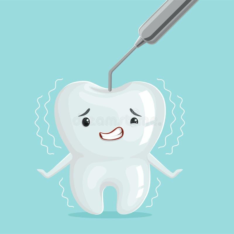 Netter weißer Karikaturzahncharakter mit Zahnarztwerkzeug, die Zahnheilkunde der Kinder, Zahnpflegekonzeptvektor Illustration lizenzfreie abbildung