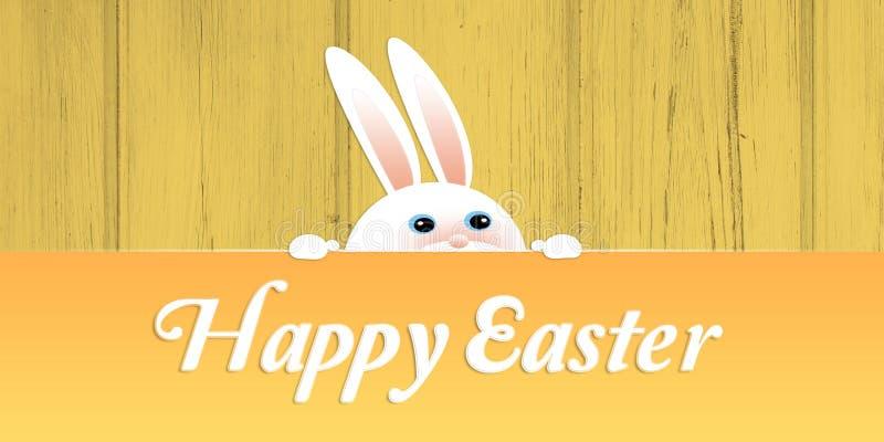 Netter weißer Osterhase, der über dem Zaun mit glücklicher Ostern-Beschriftung schaut stock abbildung