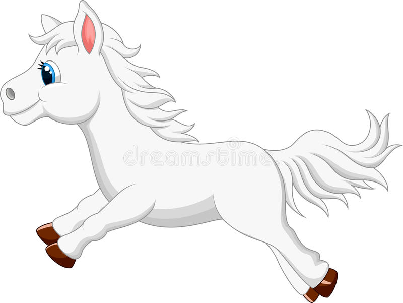 Netter weißer Ponypferdekarikaturbetrieb stock abbildung
