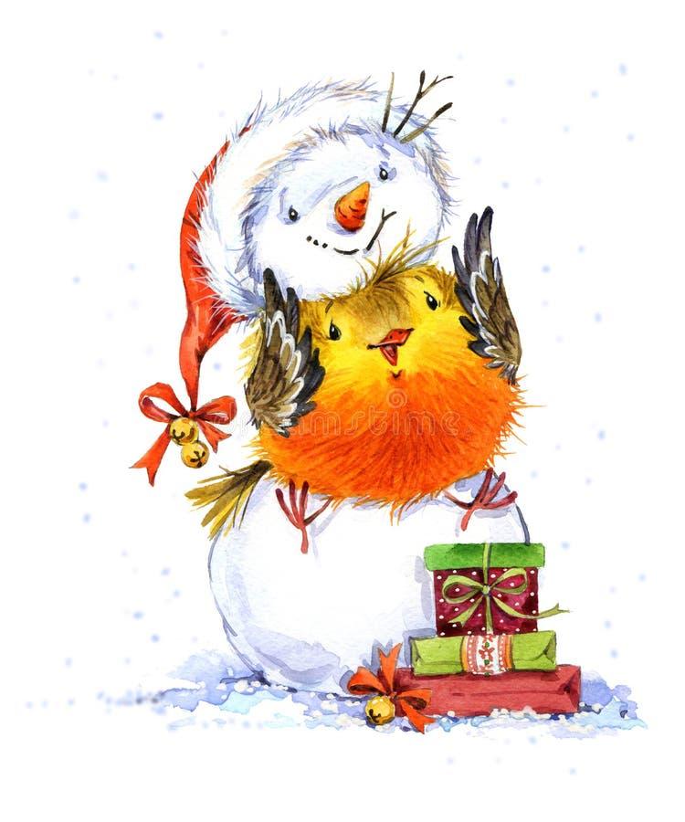 Netter Winter-Vogel Sankt Klaus, Himmel, Frost, Beutel Llustration Aquarell des neuen Jahres vektor abbildung