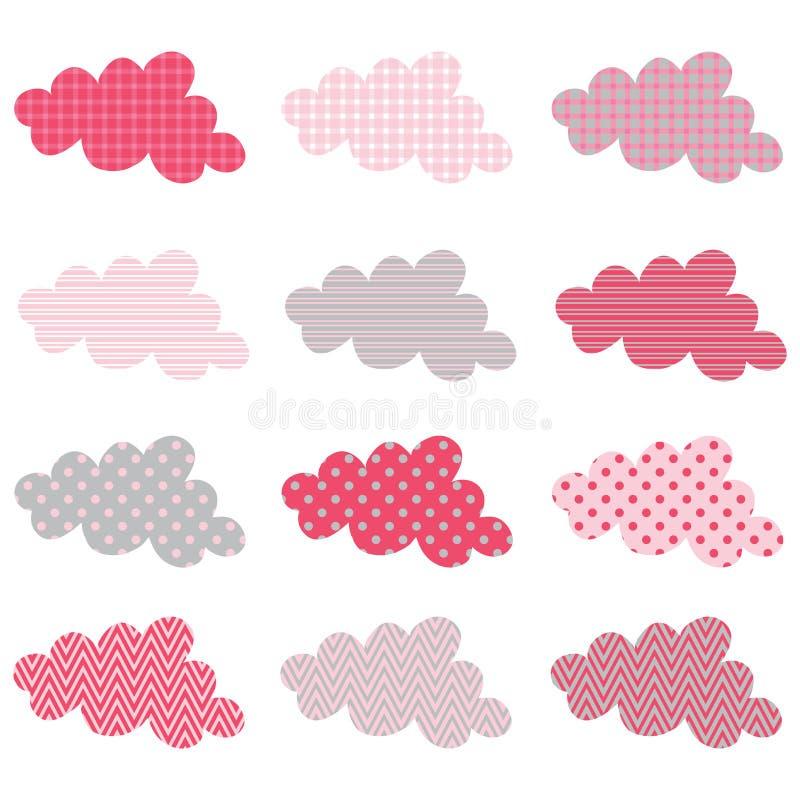 Netter Wolken-Muster-Design-Satz stock abbildung