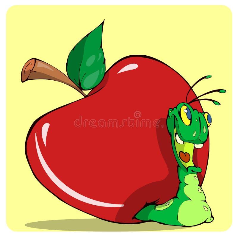 Netter Wurm aus dem roten Apfel heraus lizenzfreie stockfotografie