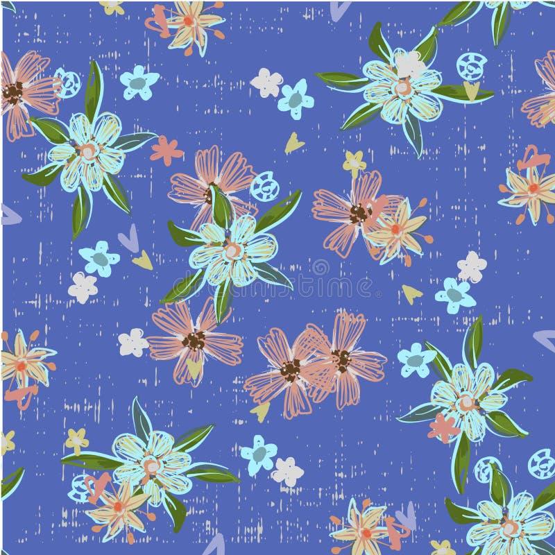 Nettes abstraktes nahtloses Muster mit kleinen bunten Blumen auf dem dunkelblauen Hintergrund Sommerblumenvektor vektor abbildung