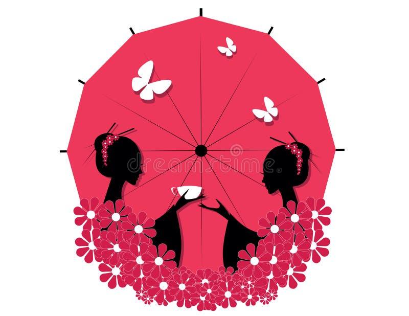 Nettes asiatisches Mädchen-Zeichen lizenzfreie abbildung