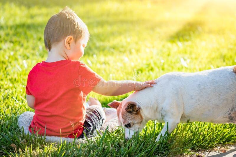 Nettes Baby, das im Gras-Liebkosungs-Hund sitzt lizenzfreies stockbild