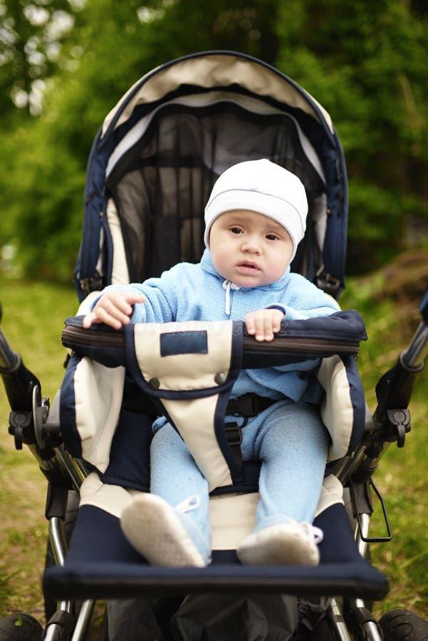 Nettes Baby, das im Spaziergänger auf Natur sitzt lizenzfreie stockbilder