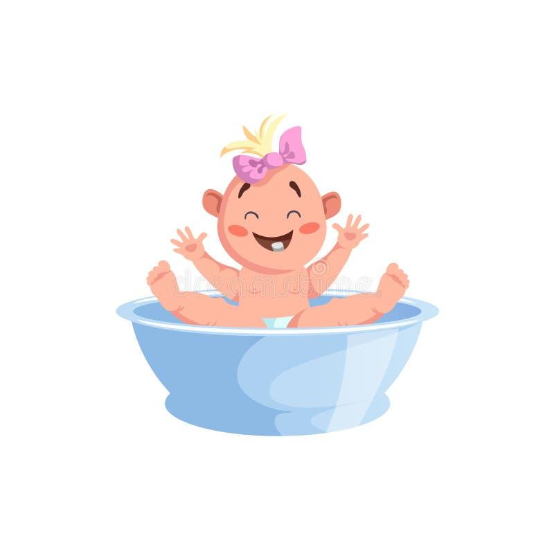 Nettes Baby der Karikatur, das Bad nimmt Lächelndes Baby mit dem hellen Haar und Rosa beugen beim Baden Vektorillustrationsikone  vektor abbildung