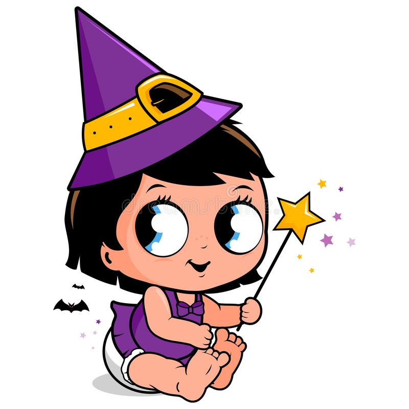 Nettes Baby im Halloween-Hexenkostüm vektor abbildung