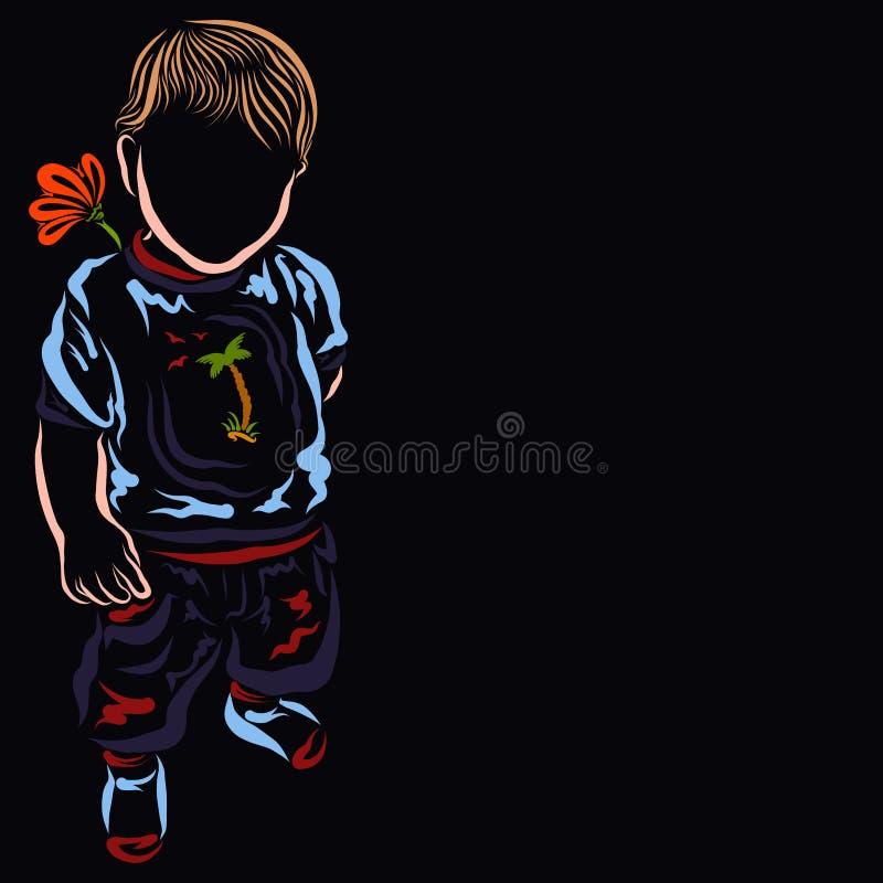 Nettes Baby mit einer Blume in seiner Hand zurück versteckt hinter seiner stock abbildung