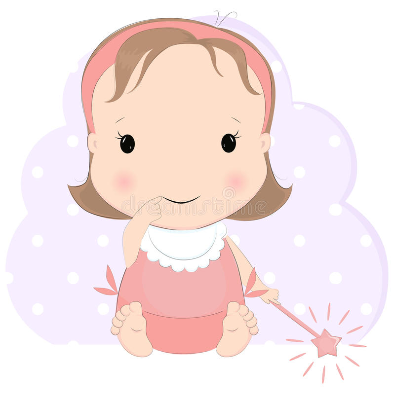 Nettes Baby mit magischem Stab stock abbildung