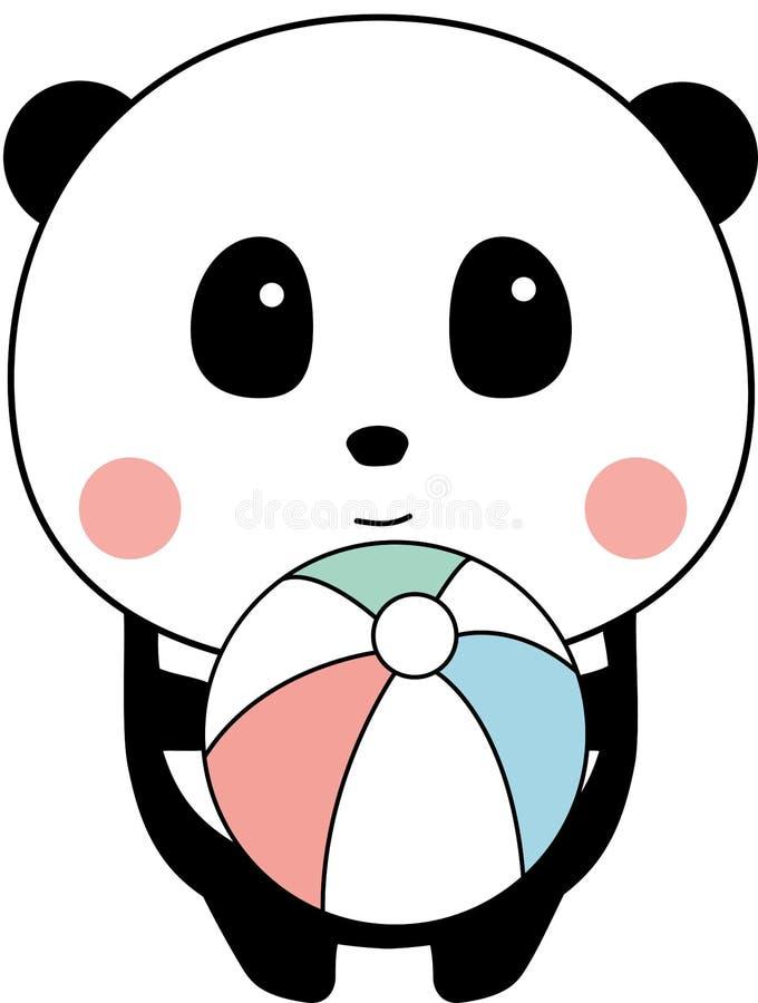 Nettes Baby Panda Playing Sea Ball, Stellung, weißer Hintergrund lizenzfreie abbildung