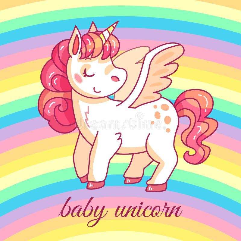 Nettes Babyeinhorn feenhaftes magisches Pony der Karikatur auf Regenbogen Lustiges Pferdemädchenhaftes T-Shirt oder -aufklebervek lizenzfreie abbildung
