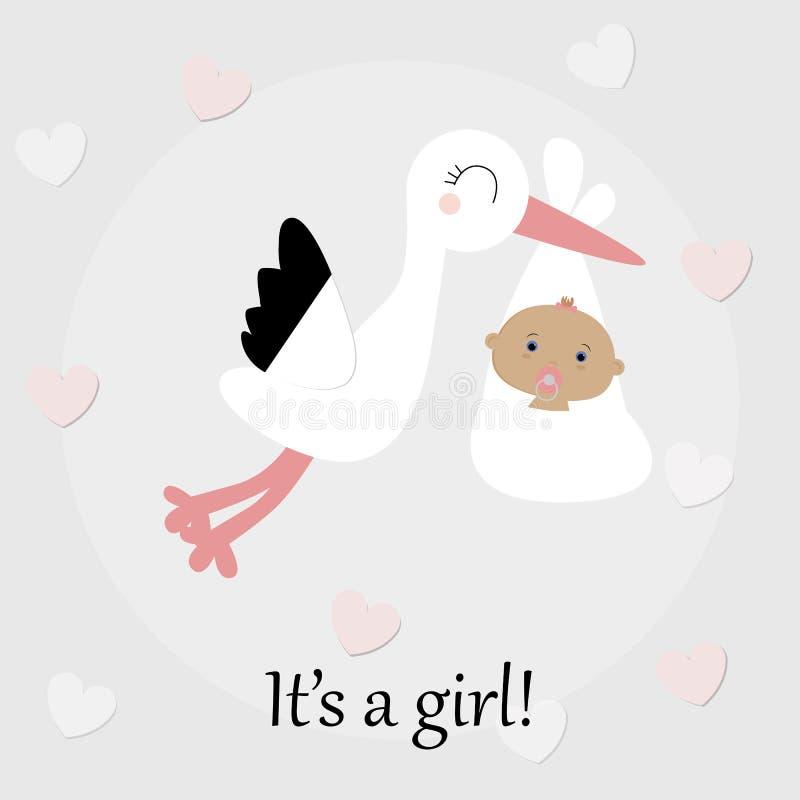 Nettes Babyplakat-Storchfliegen mit neugeborenem Baby Baby lizenzfreie abbildung