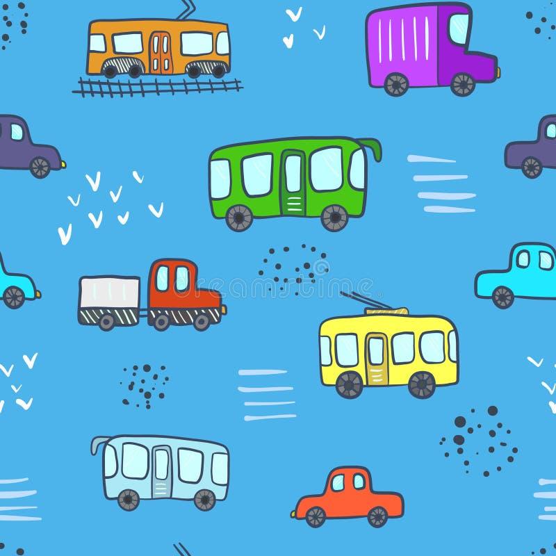 Nettes blaues Muster mit Karikaturstadttransport lizenzfreie abbildung