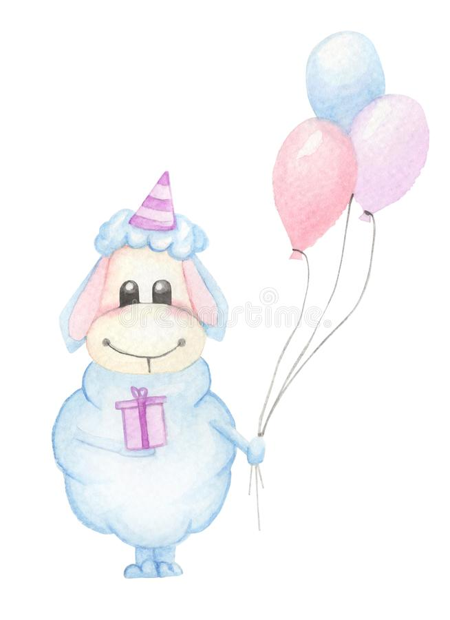 Nettes blaues Zeichentrickfilm-Figur-Lamm mit Ballonen und Geschenkbox lizenzfreie abbildung