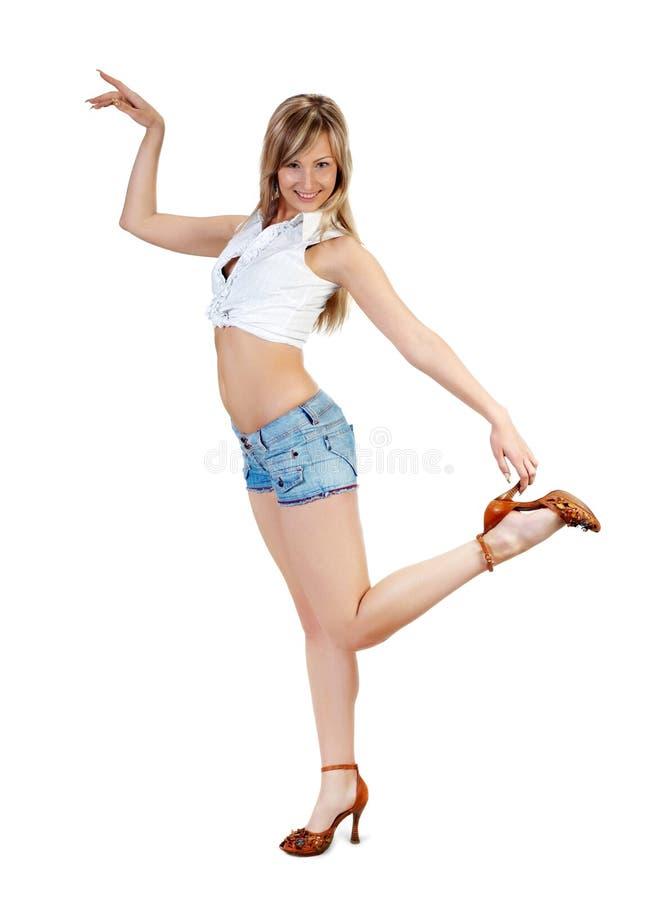 Nettes blondes Mädchen auf Weiß lizenzfreies stockbild