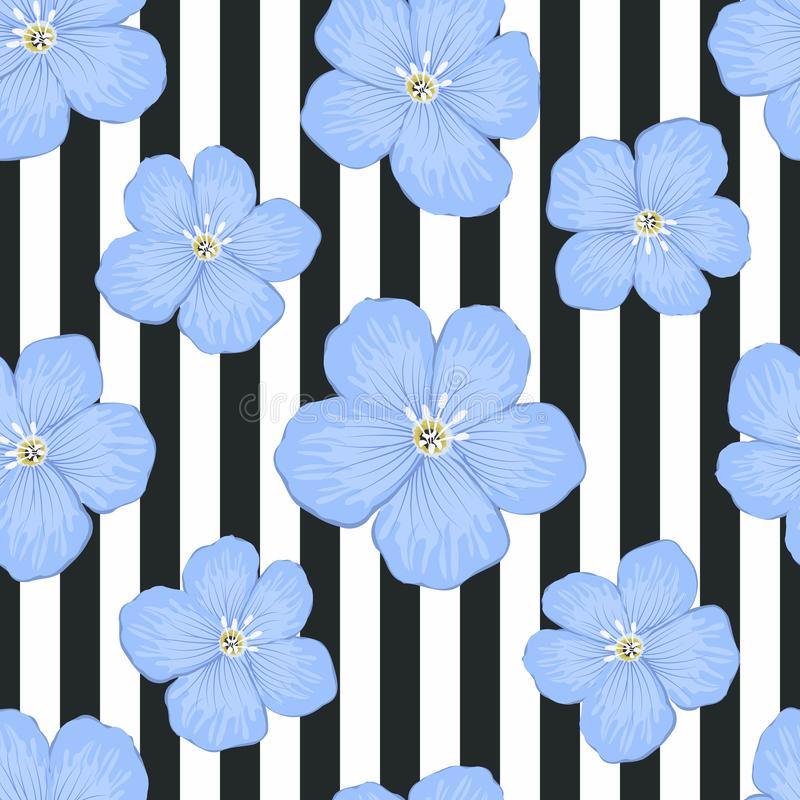 Nettes Blumenmuster auf einem gestreiften Hintergrund Nahtlose Probe mit großen blauen Blumen lizenzfreie abbildung