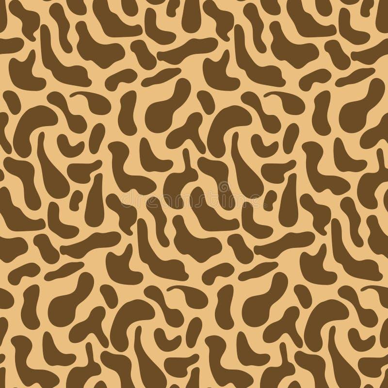 Nettes braunes Muster mit Hand gezeichneten Giraffenstellen stock abbildung
