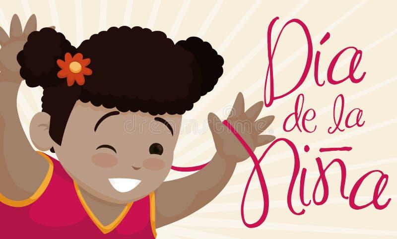 Nettes Brunette-Mädchen, das Kind-` s Tag auf spanisch, Vektor-Illustration lächelt und feiert vektor abbildung