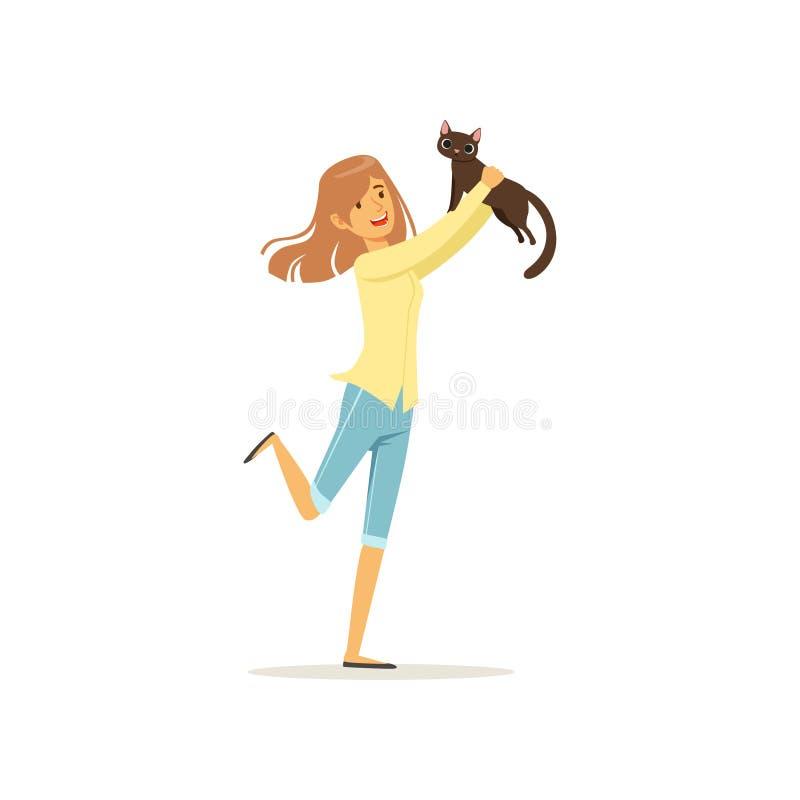 Nettes Brunettemädchen, das braune Katze in den Händen hält Junge Frau nehmen Kätzchen aus Tierheim heraus an Design für Geschäft lizenzfreie abbildung