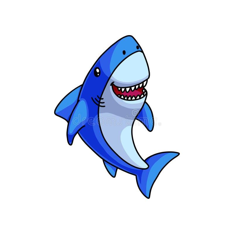 Nettes buntes blaues graues Haifischlachen mit offenem Mund stock abbildung
